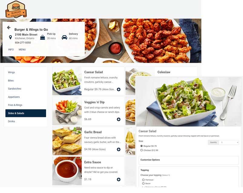 online order menu on ipad